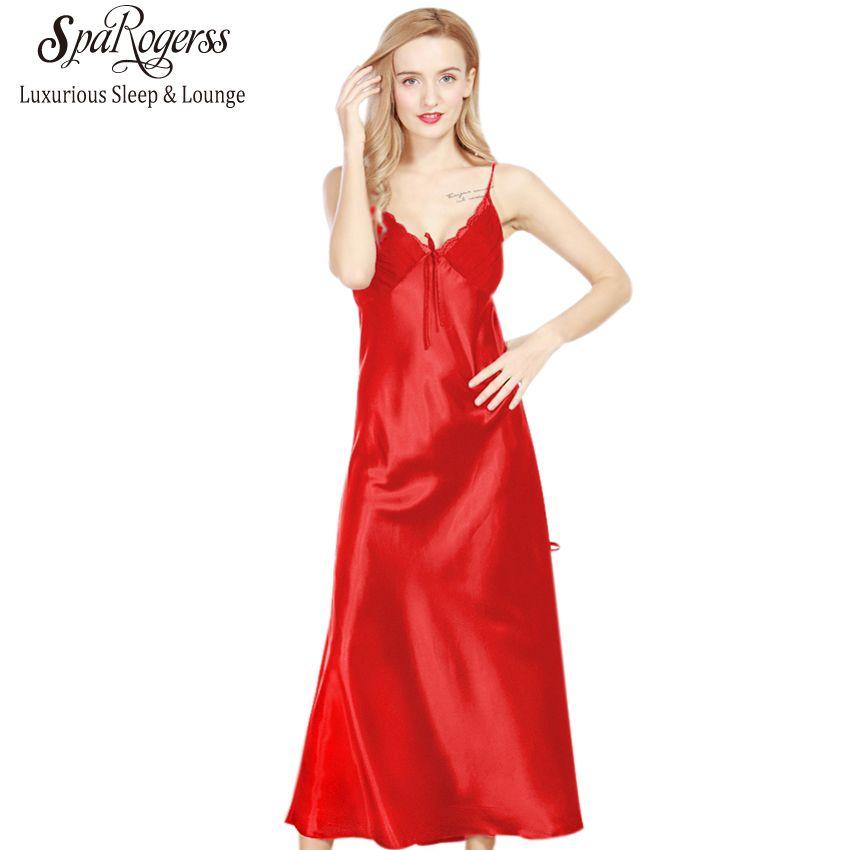 Chemises de Nuit longues Femmes 2018 Marque SpaRogerss Dames Faux Scission De Soie Longue Dressing Robes D'été Sexy Femme Dentelle Sommeil Salon YT311