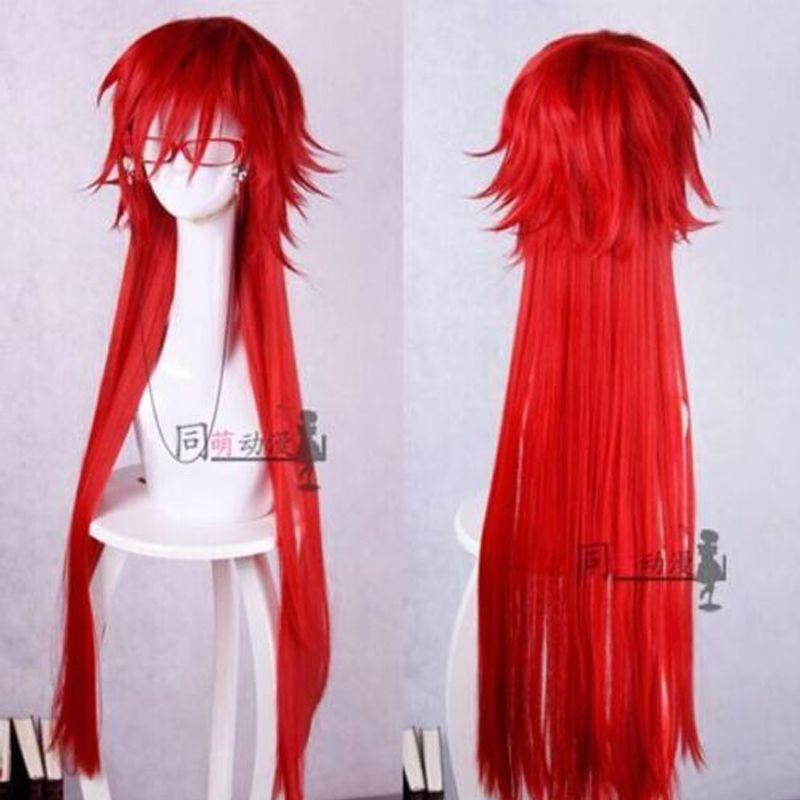 Nouveauté mode style noir Butler Grell Sutcliff longue perruque Cosplay rouge + lunettes rouges + casquette de perruque
