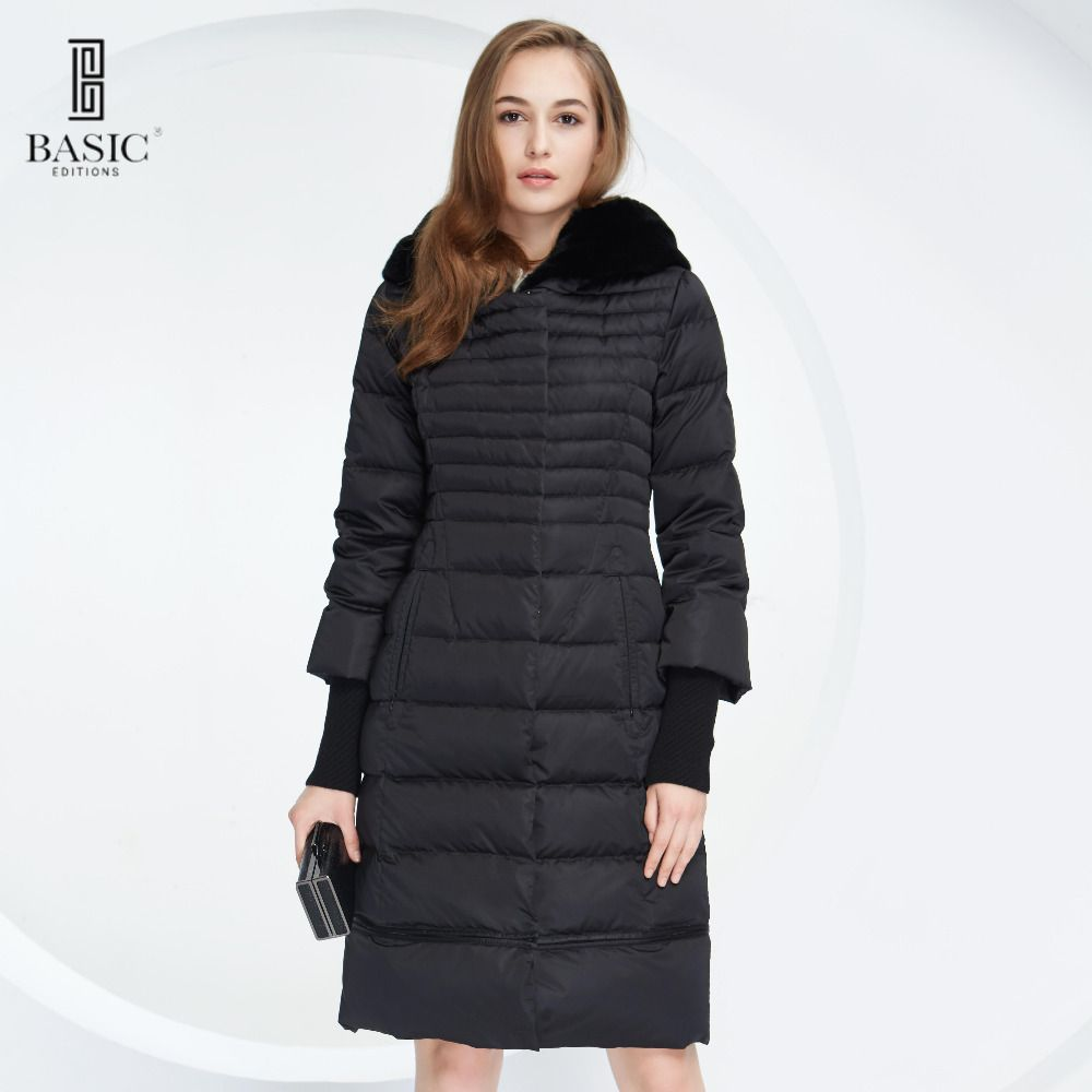 Basic Vogue Women Winter Slim Extendable Bottom Down Parka Jackets with Removable Rabbit Fur Hood - Y15010