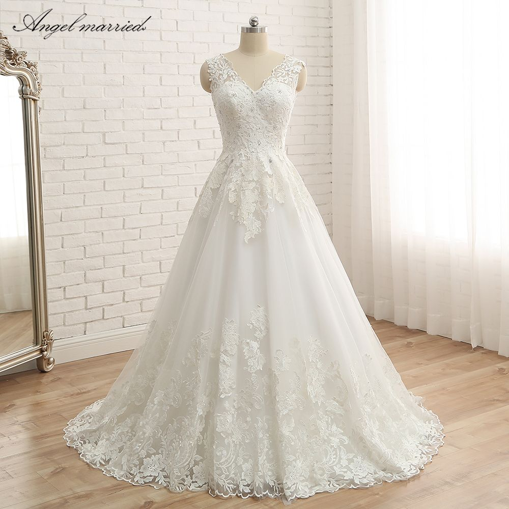 Engel Verheiratet hochzeit kleid Vintage spitze Brautkleider eine linie Hohe Qualität Spitze lange Länge Hochzeit Kleid robe de mariee