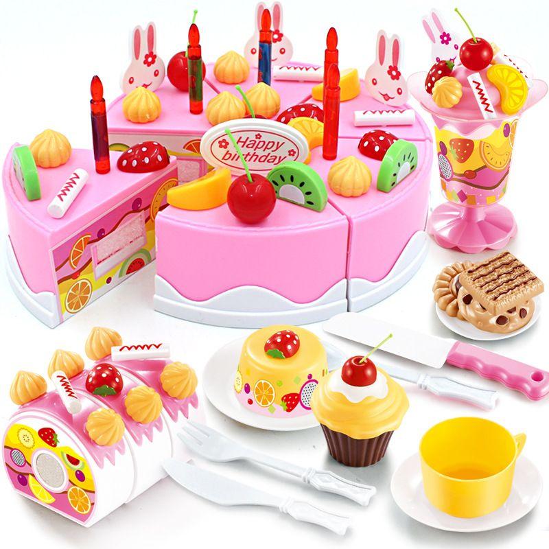 38-75Pcs DIY Pretend Play Fruit Cutting Birthday Cake Kitchen Food Toys Cocina De Juguete Toy Pink Blue Girls Gift for Children