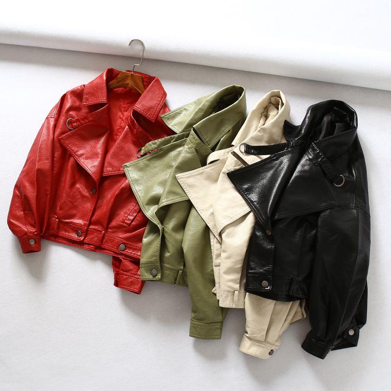 Fitaylor femmes veste en simili cuir manches chauve-souris Vintage Biker manteau court Zipper moteur PU rouge veste printemps Street cuir manteau
