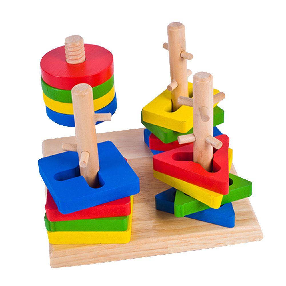 Juguetes de madera para Niños De Madera Geométrico Apilador de Anidación Tablero Del Rompecabezas Del Bebé Juguetes Educativos Para Niños Rompecabezas Rompecabezas Bebé