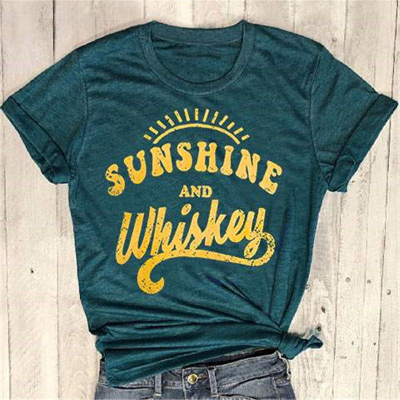 Nouveau femmes t shirt à manches courtes vert foncé hauts tee-shirt soleil et whisky imprimé o-cou T-Shirt 2018 décontracté femme hauts Tee-shirt