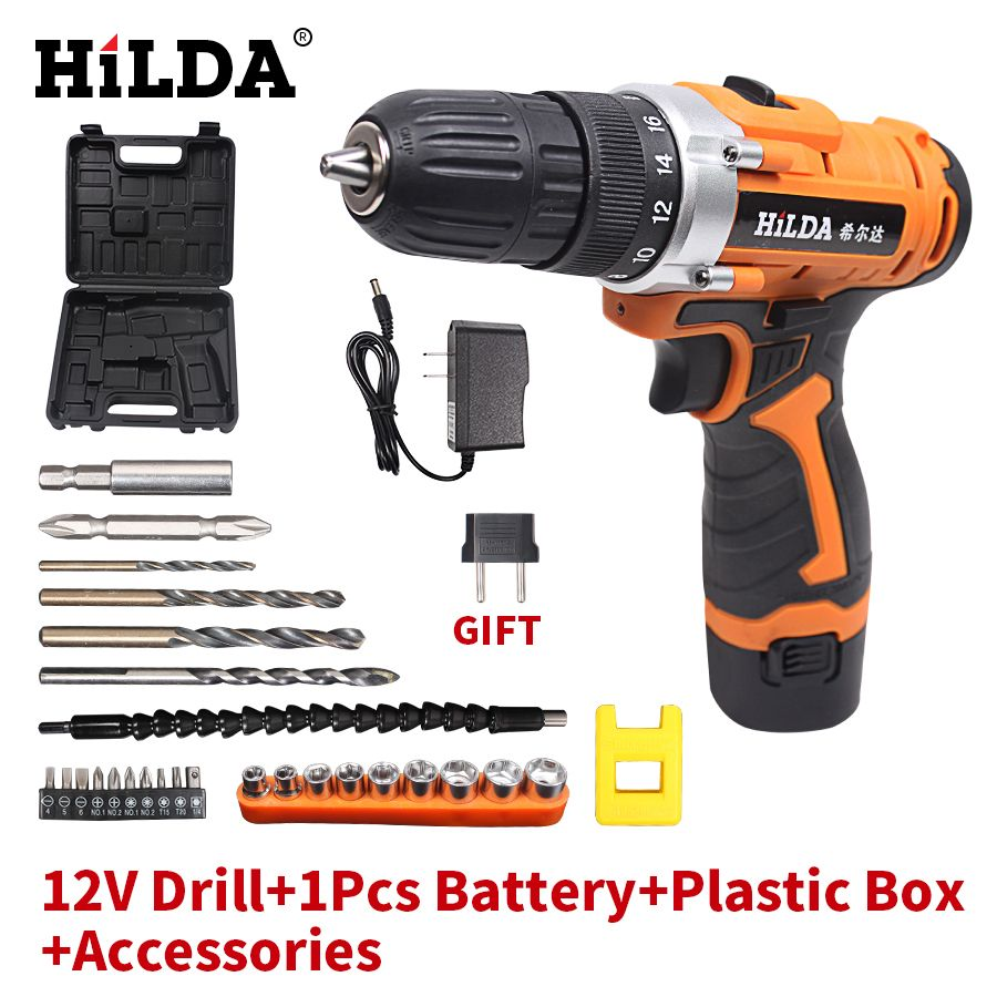HILDA 12V Electric Drill Rechargeable Lithium Battery*2 Electric Screwdriver Cordless Screwdriver Two-speed Power Tools