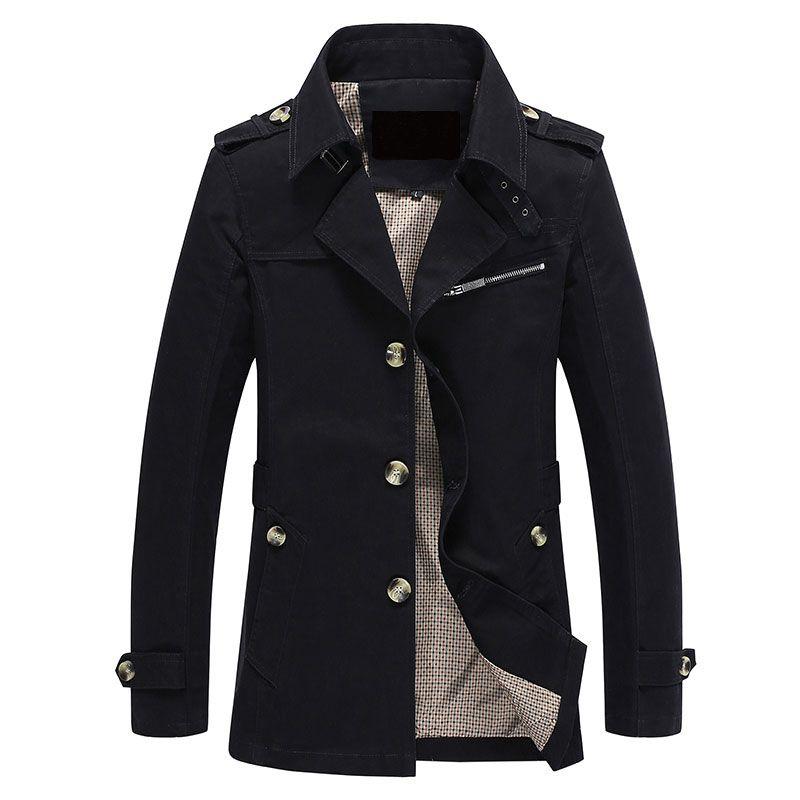 Men Jacket Coat Long Section Fashion <font><b>Trench</b></font> Coat Jaqueta Masculina Veste Homme Brand Casual Fit Overcoat Jacket Outerwear 5XL
