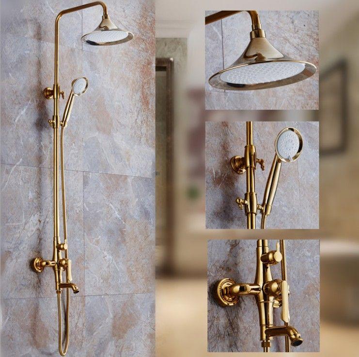 Europa Luxus Gold Finish Haus Construction Badezimmer Kalt-und Warmwasser Dusche Wasserhahn Set/Wand Badewanne Kupfer Wasserhahn