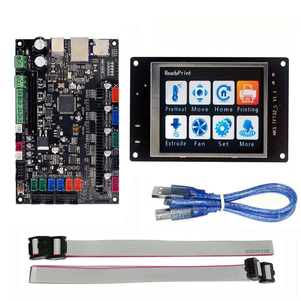 МКС базы 3D принтер 32bit Arm платформы гладкой плата управления МКС SBASE V1.3 + МКС TFT32 3,2 ''ЖК-дисплей Touch Дисплей