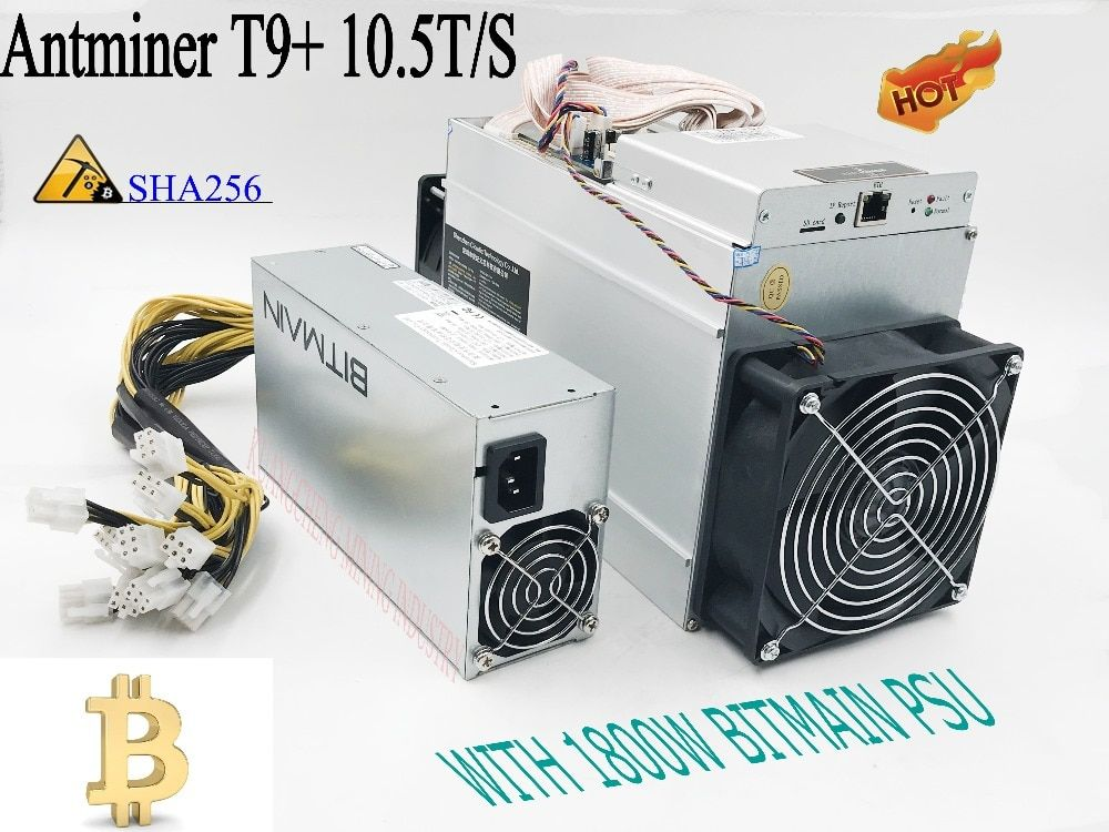 KUANGCHENG sell AntMiner T9+ 10.5T Asic Miner Bitcon Miner,16nm BTC Mining with power supply Sha256 algorithm .Fast, steady.