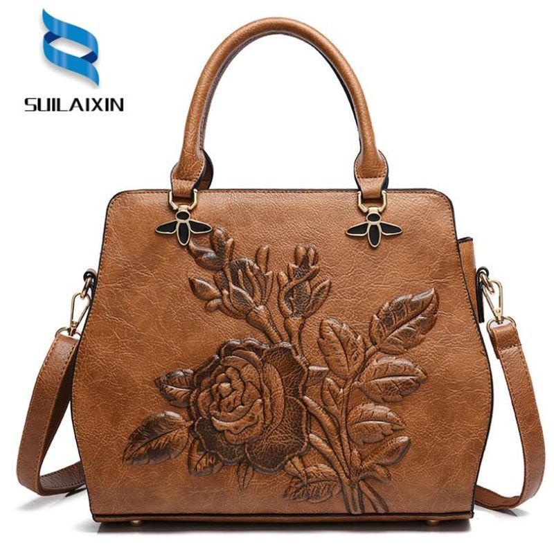 Women Designer Leather Hobo Bucket Bags Large Embroidery Embossing Printing retro Floral Handbag Luxury Tote Bag High quality