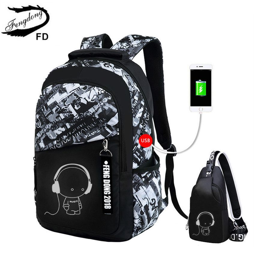 FengDong boys school bags waterproof large backpack for teenagers bagpack high school backpack for boy student casual travel bag
