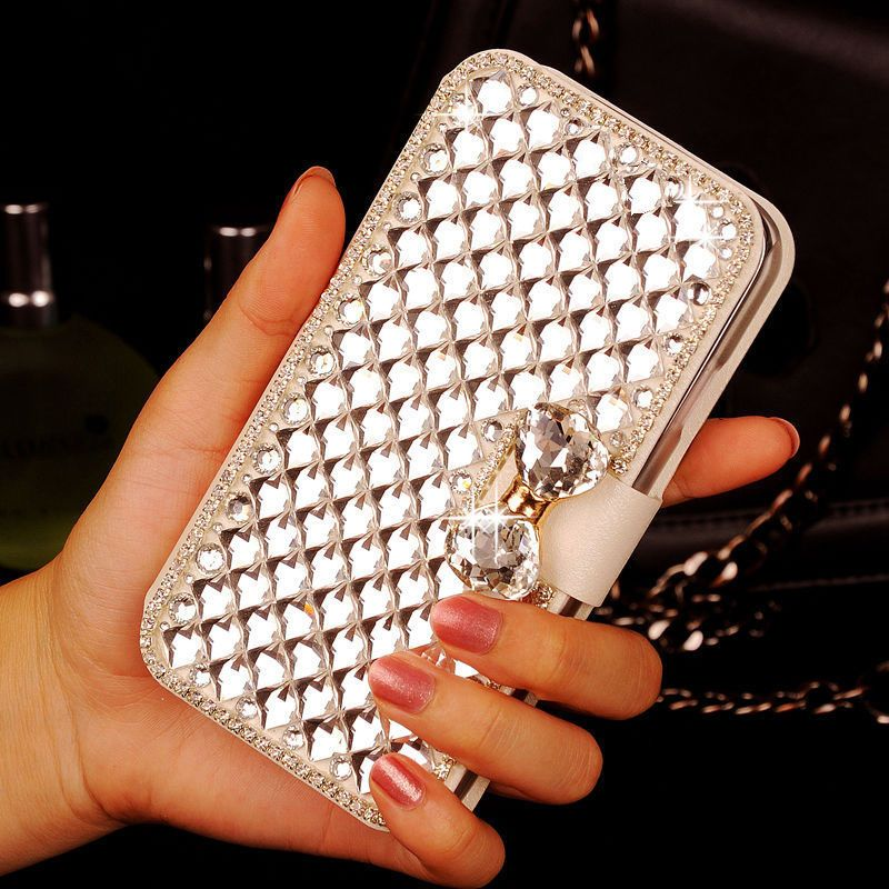 Elegant Bling Crystal Premium PU Leather Wallet Card Holders Case for Leagoo M8 /M8 PRO