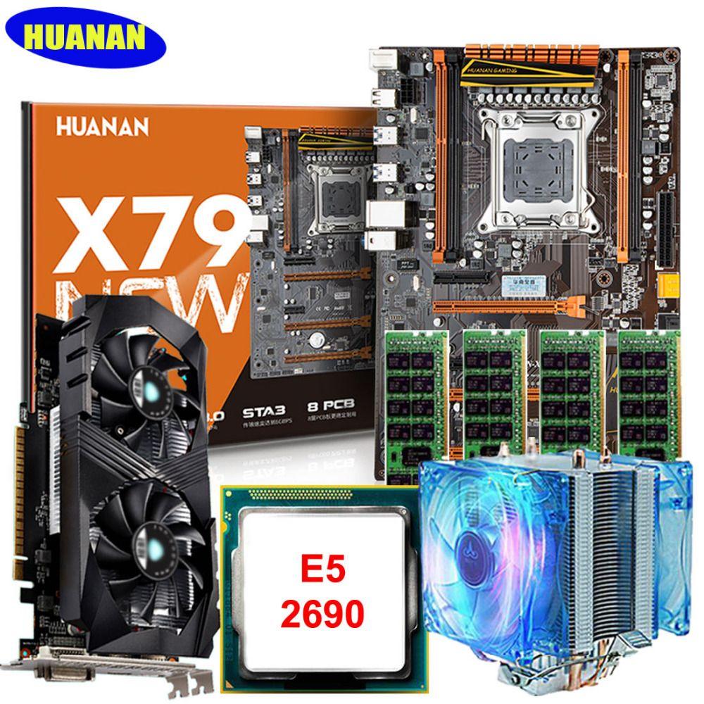 Marca huanan X79 Deluxe placa madre de juego conjunto con CPU cooler E5 2690 C2 Ram 64G DDR3 1600 MHz recc GTX1050ti 4G DDR5 tarjeta de vídeo
