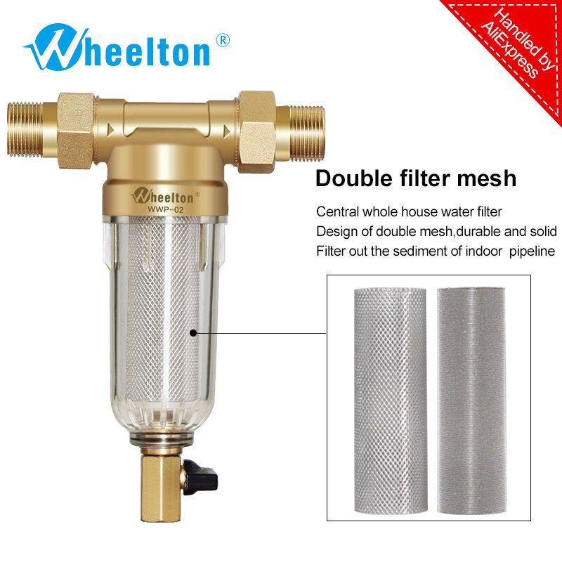 Prefilter water filter <font><b>First</b></font> step of water purifier system 59 brass 40micron stainless steel mesh prefiltro Freeshipping
