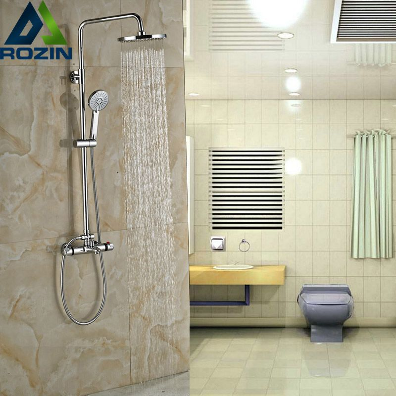 Luxury Chrome Bathroom Thermostatic Shower Valve Dual Handle Bath Shower Mixer Faucet with Hand Shower