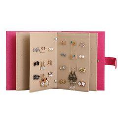 PU cuero maquillaje organizadores Portable de la manera de las mujeres pendientes colección joyería caja de presentación del libro organizador Accesorios