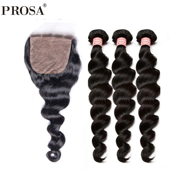 3 Human Hair Bundles With Silk Base Closure 4Pcs Brazilian Human Hair Weave Bundles With Closures Pre Plucked Prosa Remy