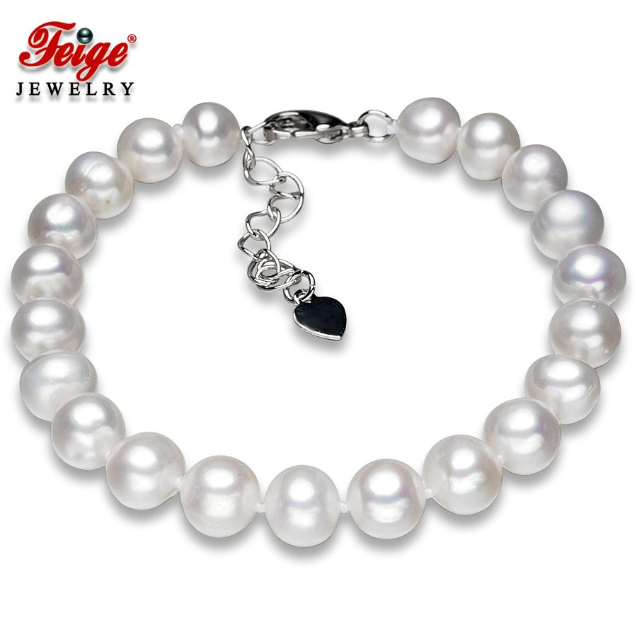 Bracelet de perles naturelles classiques pour femmes 8-9 MM perles d'eau douce Bracelets faits à la main bijoux fins cadeaux livraison directe FEIGE