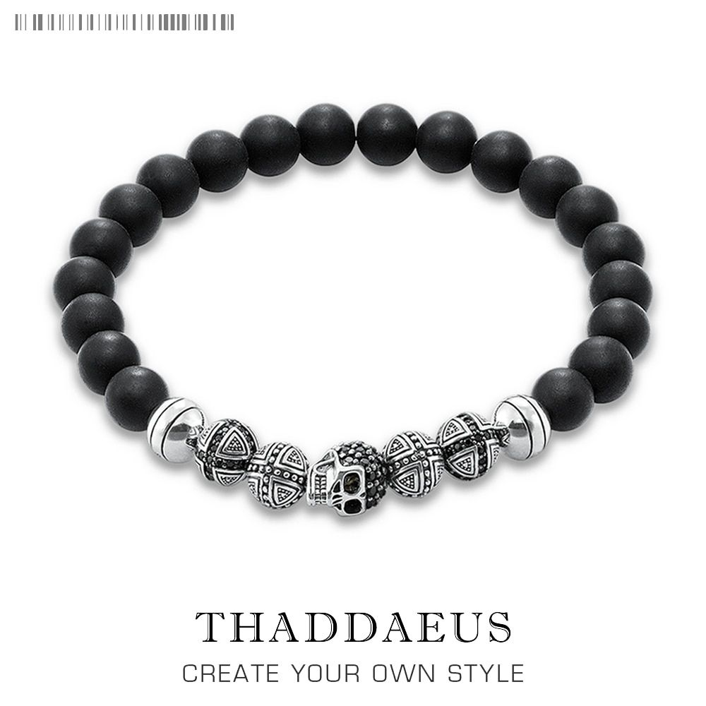 Skull Cross Bead Bracelet,Thomas Style Rebel Fashion Punk Jewerly For Ts Men And Women,2017 Beads Silver Obsidian Gift Heart