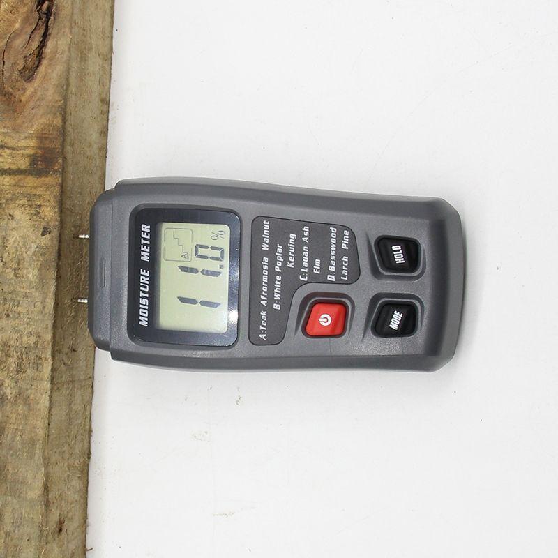 EMT01 0-99.9% Zwei Pins Digital Holz Feuchtigkeit Meter Holz Feuchtigkeit Tester Hygrometer Holz Damp Detector Große LCD Display