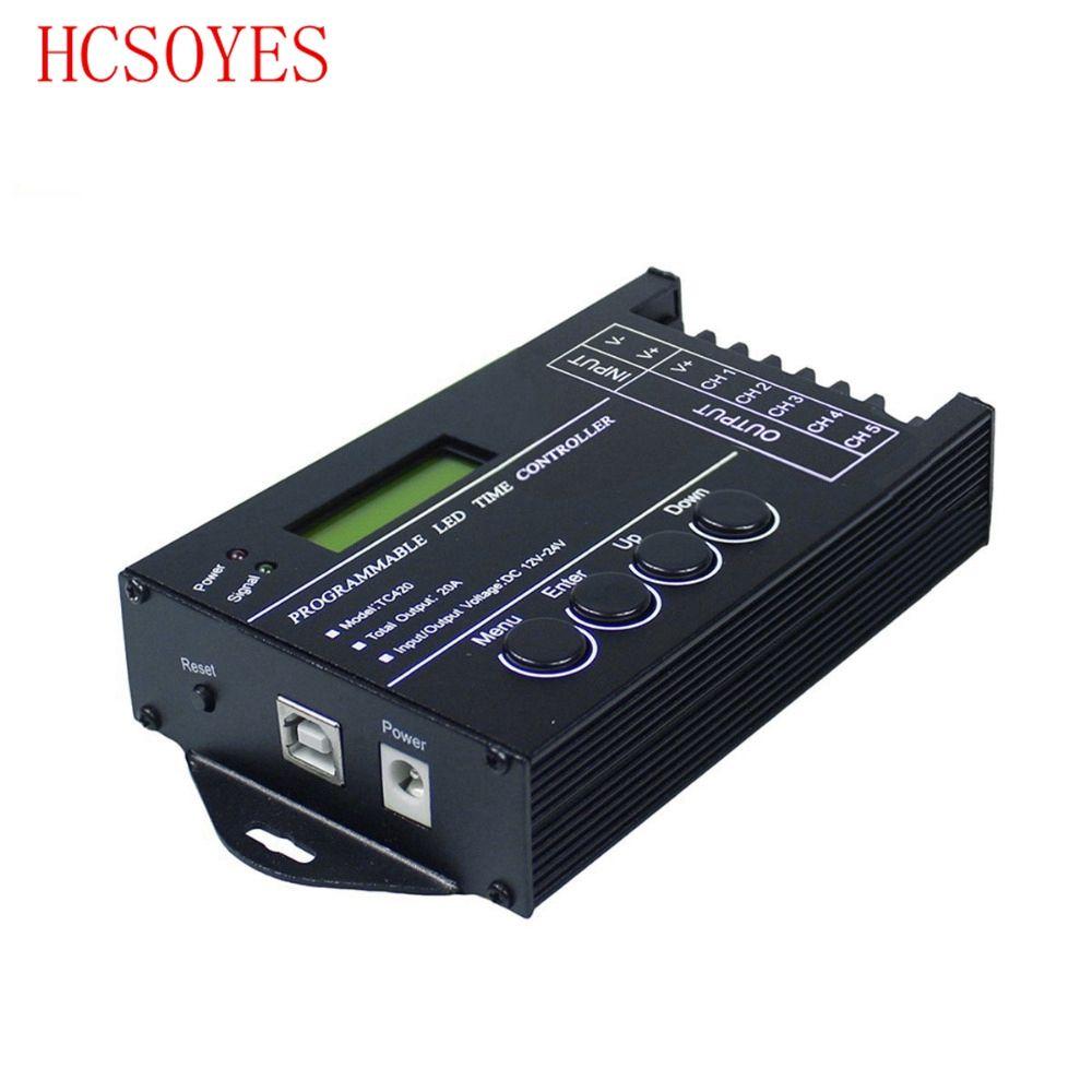 TC420 temps Programmable RGB LED de contrôle 5 canaux sortie totale 20A Anode commune Programmable pour module de bande de LED DC12V/24 V