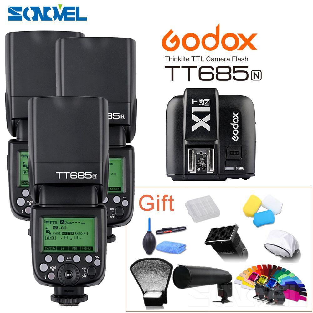 3pcs Godox TT685N 2.4G HSS 1/8000s i-TTL GN60 Wireless Flash + X1T-N TTL Trigger for Nikon D800 D700 D7100 D7000 D5100 D810 D90