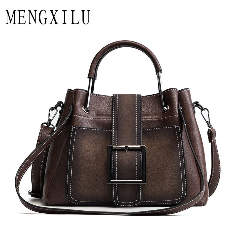 MENGXILU Bag Women Handbag Ladies Soft Pu Leather Bag Pin Type Women Bag Solid Fashion Shoulder Sac Metal Handle Casual Tote