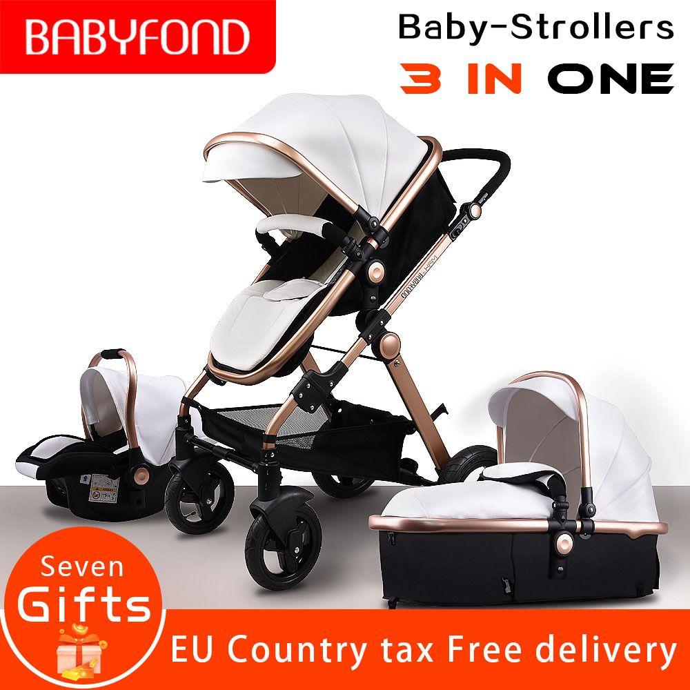 Pu leather aluminum alloy frame bb Babyfond high landscape fold trolley 3 in 1 four wheel cart EU standard baby stroller