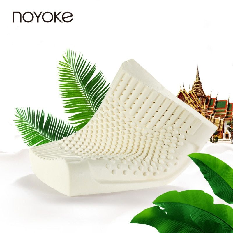 NOYOKE Thailand Import Natural Latex Cervical <font><b>Pillow</b></font> Neck Protection <font><b>Pillows</b></font> for Sleeping Orthopedic <font><b>Pillow</b></font> with Pillowcase