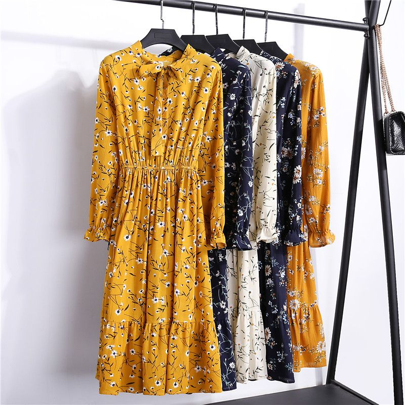 29 Colors Beautiful Fashion Spring Autumn Women Long Sleeve Dress Retro Collar Casual Slim Dresses Floral Printing Chiffon Sexy
