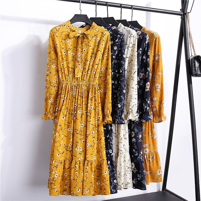 29 couleurs Belle Mode Printemps Automne Nouvelles Femmes À Manches Longues Robe Rétro Col décontracté robes moulantes Floral Impression Mousseline de Soie