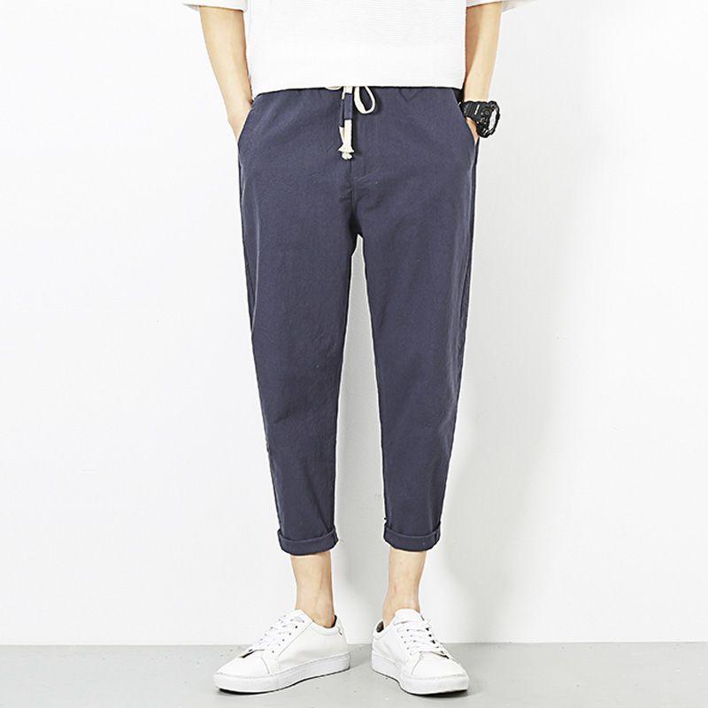 2018 Long Pants Men's Linen Comfort Casual Straight Pants Male #2D6