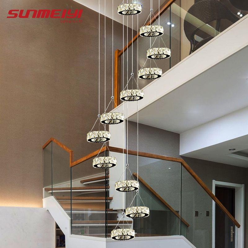 Moderne Lange LED Spirale Wohnzimmer Kristall Kronleuchter Beleuchtung Innen Leuchte für Treppe Stair Lampe Schaufenster Schlafzimmer Hotel Halle