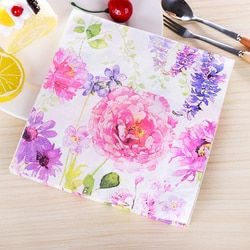 Rosa flor púrpura romántico papel servilletas café & Party Tissue servilletas Decoupage decoración papel 33 cm * 33 cm 20 unids/pack/lot