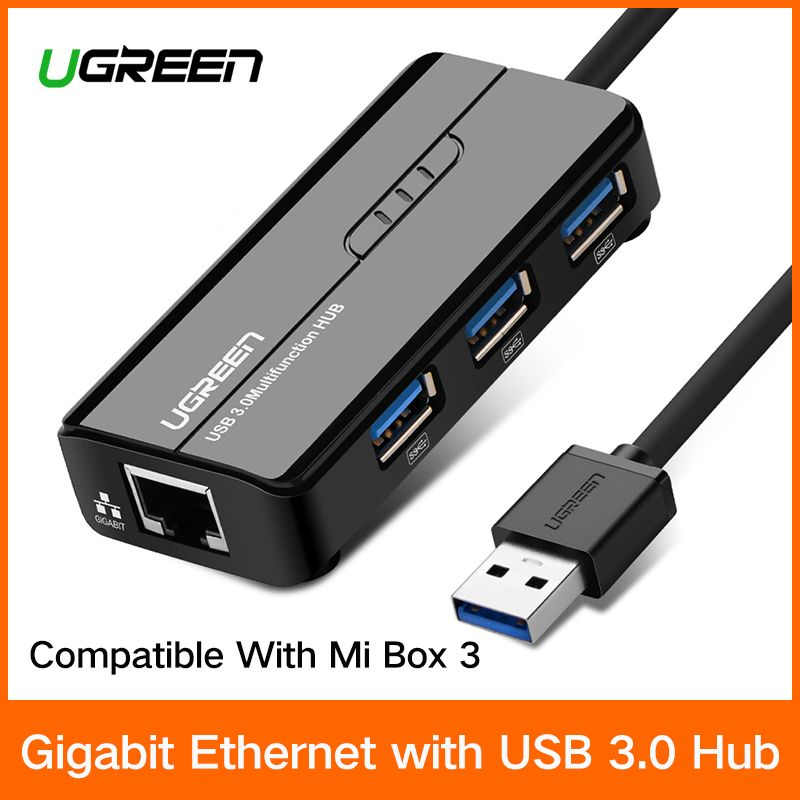 Ugreen USB Ethernet USB 3.0 2.0 to RJ45 HUB for Xiaomi Mi Box 3 Android TV Set-top Box Ethernet <font><b>Adapter</b></font> Network Card USB Lan