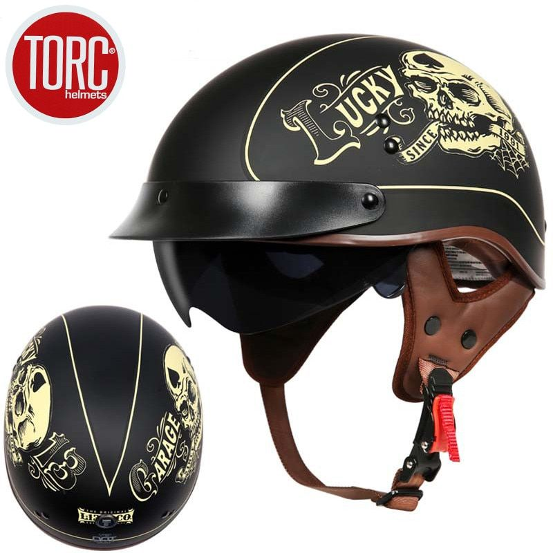 TORC T55 motorcycle helmet vintage Harley helmet retro scooter half helmet with inner visor <font><b>lens</b></font> casco moto DOT capacete