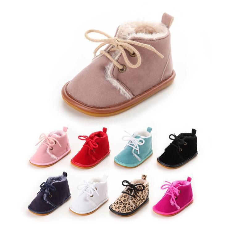New Suede Leather with Fur solid Newborn Baby boot toddler Girl boy First Walkers shoes lace-up super warm Plush boots