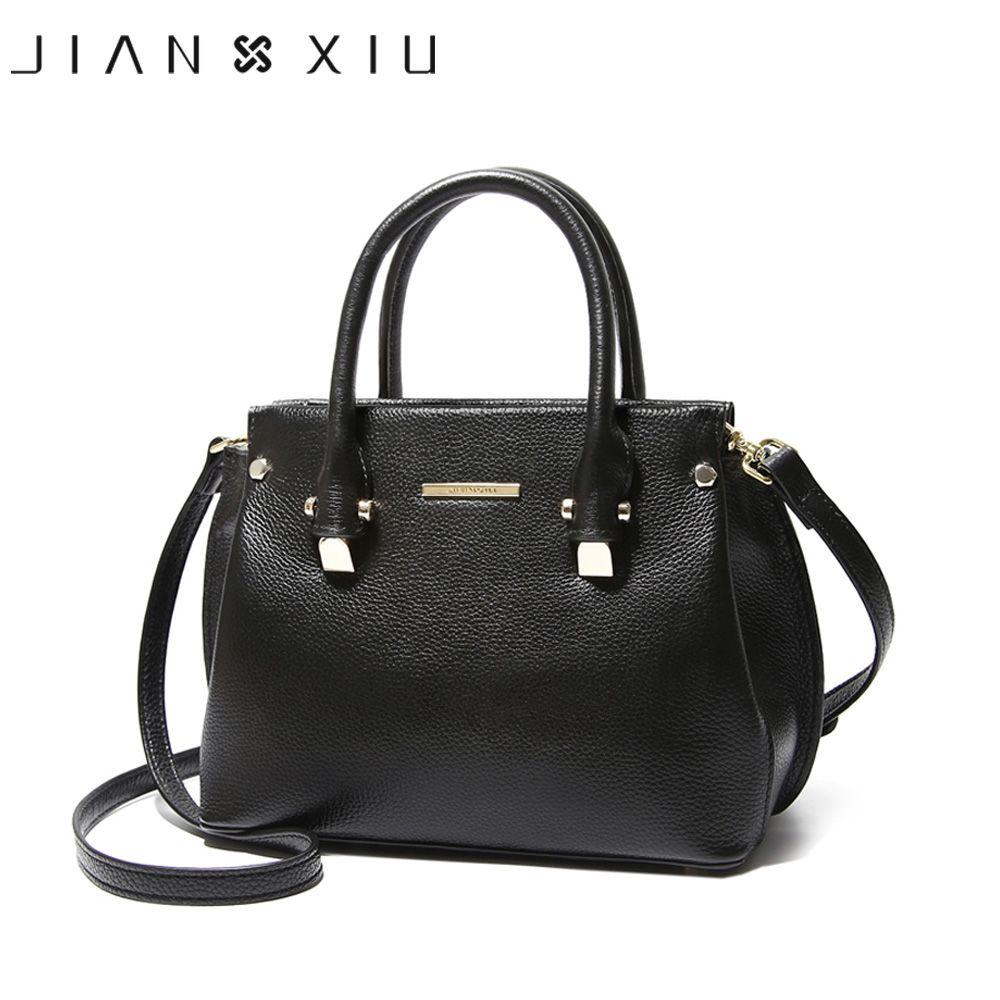 JIANXIU Genuine Leather Totes Female Shoulder Crossbody Bags For Women Leather Handbag Ladies Messenger Bag Large Top-handle Bag