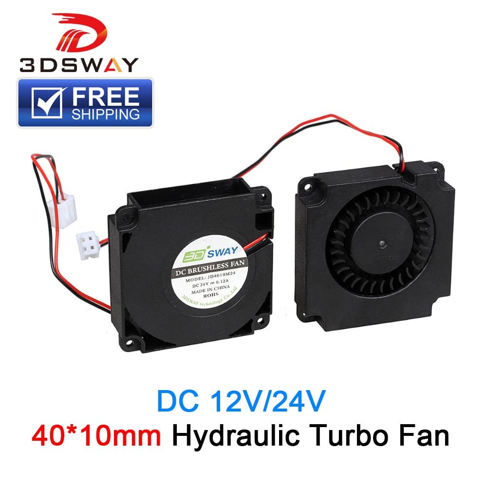 3DSWAY 3D Printer Fan 12V 24V 40*10mm Hydraulic Bearing Blow Radial Cooling Fan Turbo Fan with XH2.54-2P Wire for 3D Printer Kit