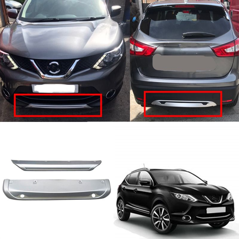 Fit For Nissan Qashqai Dualis J11 2014 2015 2016 ABS Car Exterior Front & Rear Bumper Skid Protector Guard Plate Cover 2PCS