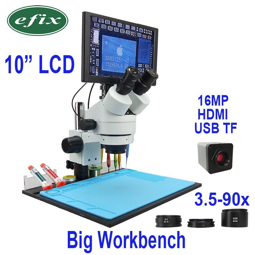 Efix 10 LCD Simul-Brenn Kontinuierliche Zoom 3,5 ~ 90X Trinocular Stereo Mikroskop 1080 HDMI USB Digital Kamera werkbank