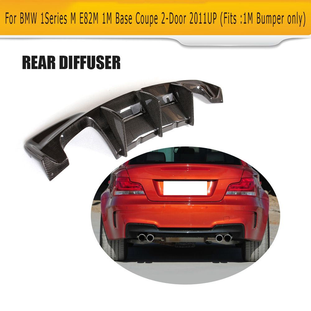 1 Series Carbon Fiber Racing Rear Trunk Diffuser Lip spoiler for BMW E82 M Bumper Only 2011 - 2017