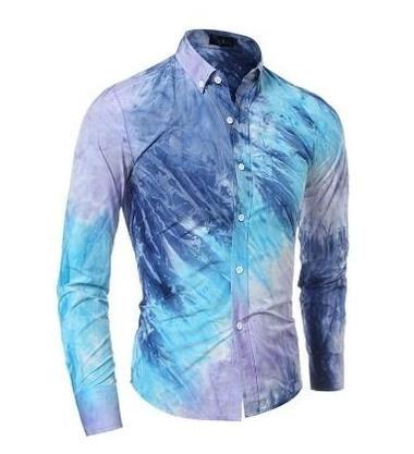 Livraison directe qualité 3d impression colorée à manches longues décontracté, hommes Slim Fit cravate-teinture chemises, taille M-2xl