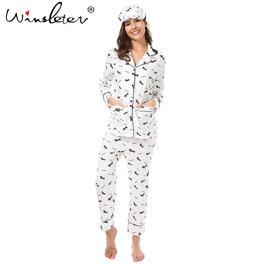 New 2018 Pajama Sets Women Dachshund Print 3 Pieces Set Long Sleeve Top + Pants Elastic Waist + Blinder Loose Homewear S74407