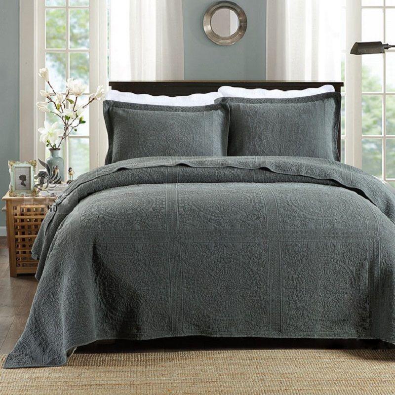 CHAUSUB Qualität Plain Baumwolle Quilt Set 3 stücke Feste Bestickte Bettdecke Stepp Bettdecke Bettwäsche KÖNIG Größe Quilts Bettdecke Satz