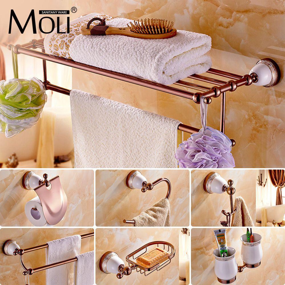 Chinese style Ceramic Rose Gold Bath Hardware Bathroom Accessories Set Robe Hook,Paper Holder,Toilet Brush Holder,bathroom set