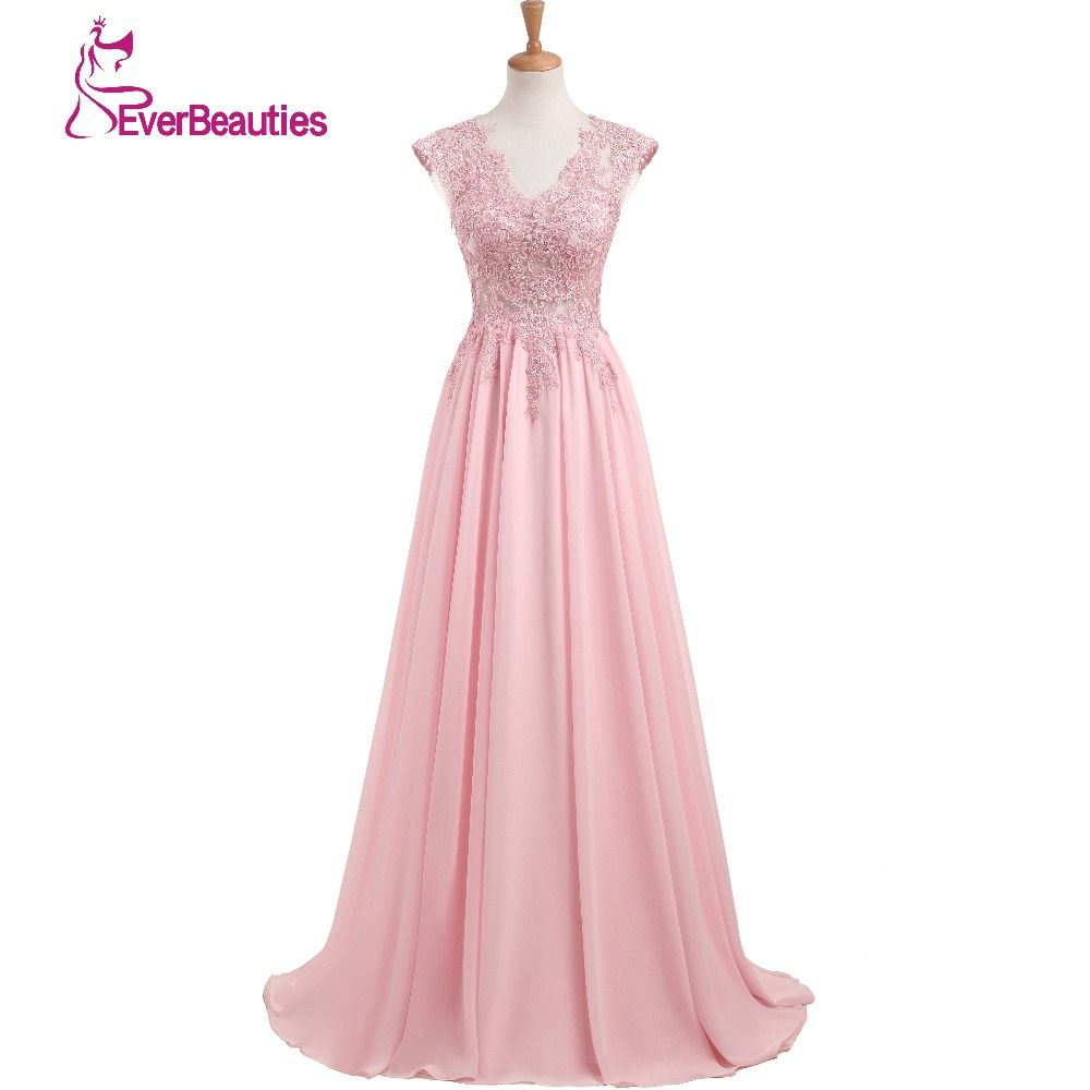 Elegantes Vestidos de Noche Largo 2017 Nueva Charmming V-cuello Piso-Longitud gasa con Top Lace Prom Party Dress Robe De Abiye Soiree
