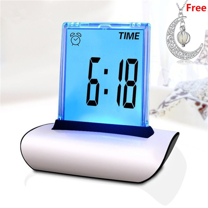 7Colors Multi-Functional Large Display Desk Clock Changing Digital Table Clocks LCD Screen Alarm Clock with Thermometer Calendar