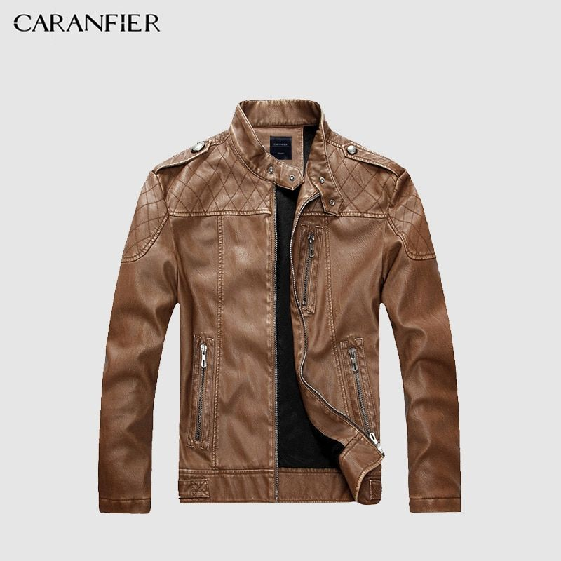 CARANFIER Men High Quality Faux Leather Jacket Fashion Motorcycle Style Male Business Casual Coat Western Cowboy Jacket M~2XL