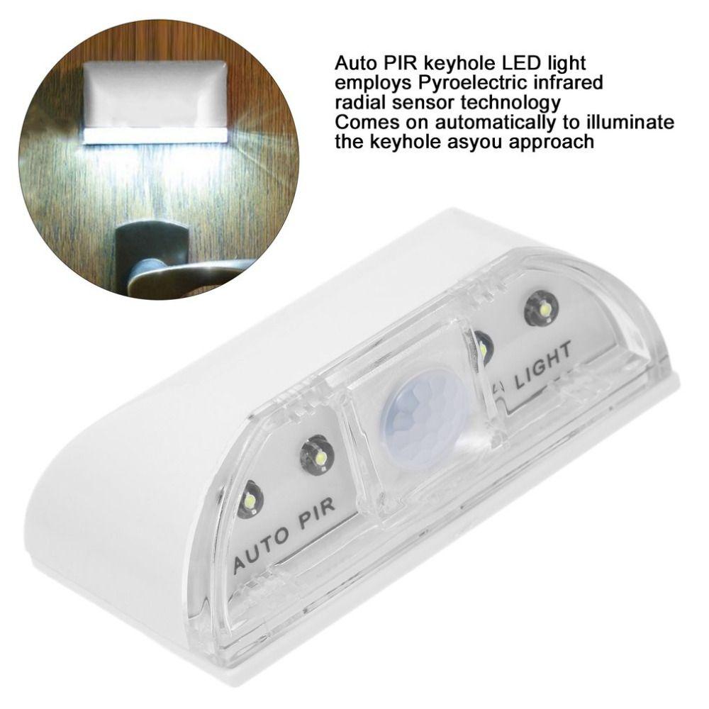 1 шт. 4 LED ПИР обнаружения инфракрасный движения Сенсор Главная Дверь Замочная скважина свет лампы Фирменная Новинка